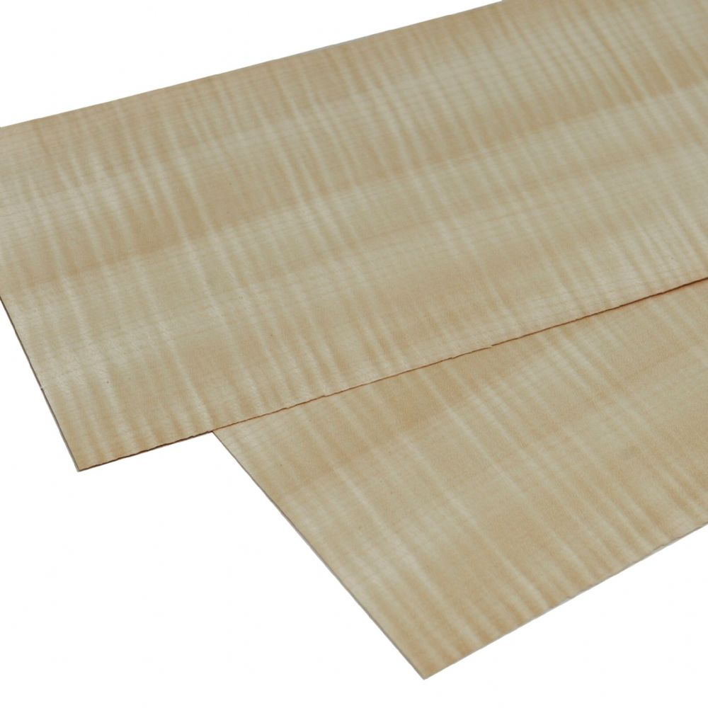 "Figured Sycamore real wood veneer 2 sheets: 22"" x 6"" ( 56 x 15 cm )"